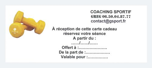 Gsport Coach Sportif Carte Cadeau